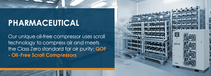 Our unique oil-free compressor uses scroll technology to compress air and meets the Class Zero standard for air purity