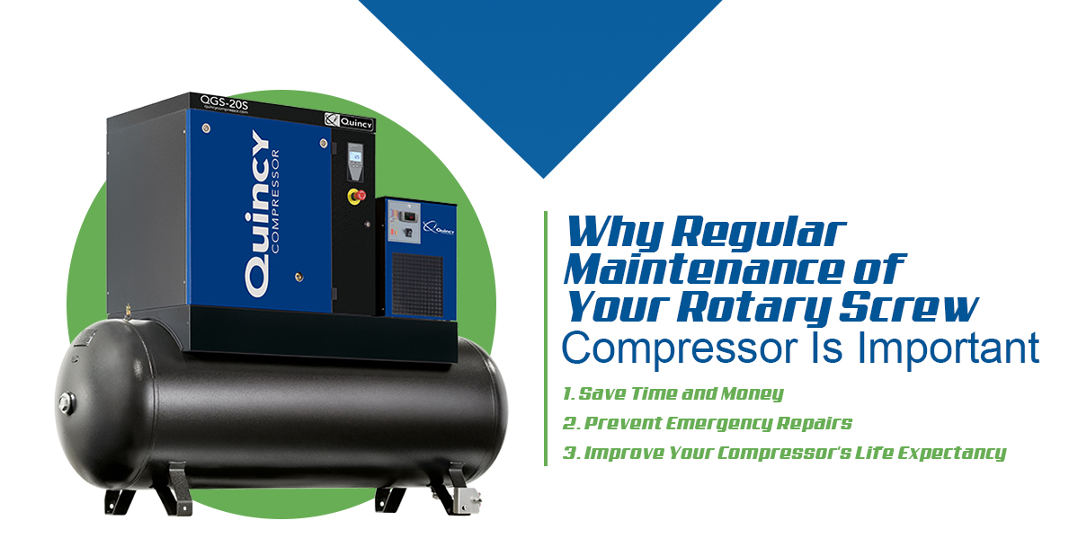 regular maintenance of your rotary screw compressor is important because it saves money, prevents emergency repairs and improves your compressor's life expectancy