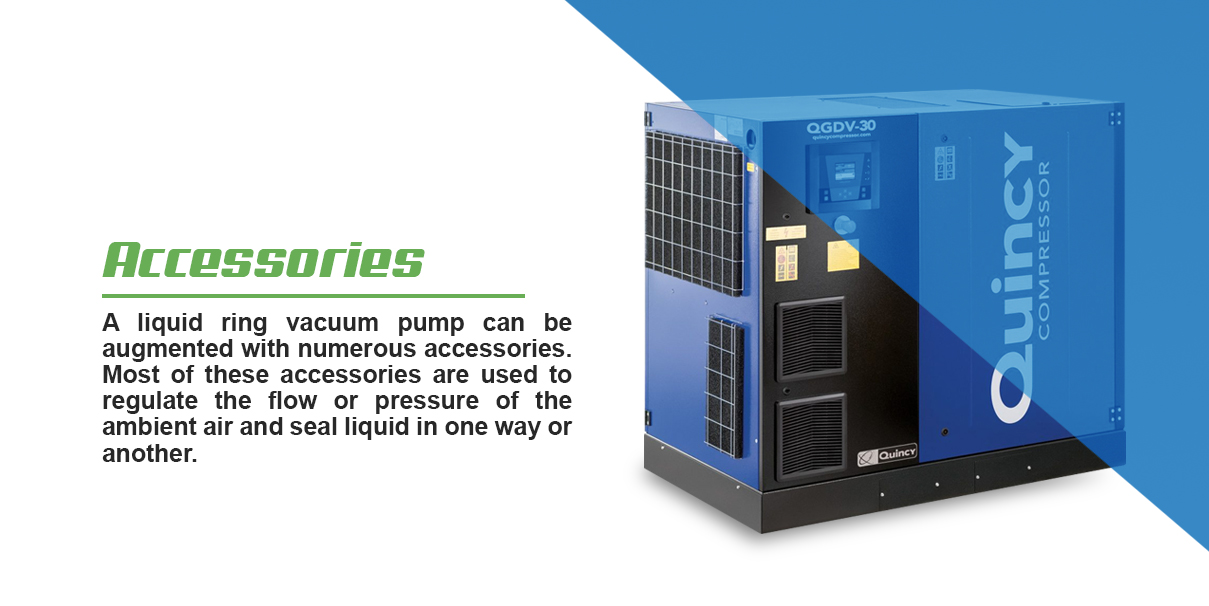 A liquid ring vacuum pump can be augmented with numerous accessories