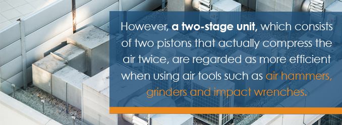 a two-stage unit consists of two pistons that compress the air twice