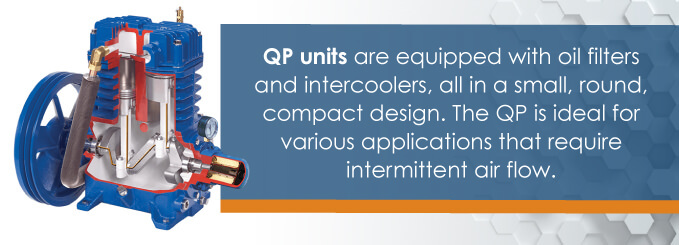 QP unites are equipped with oil filters and intercoolers.