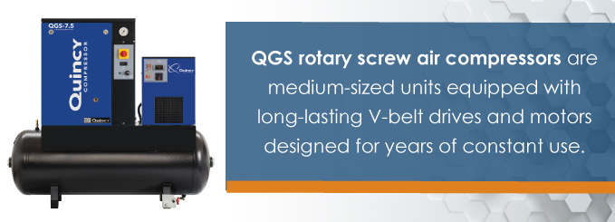cgs rotary screw compressors are medium-sized units with long-lasting v-belt drives and motors designed for years of constant use