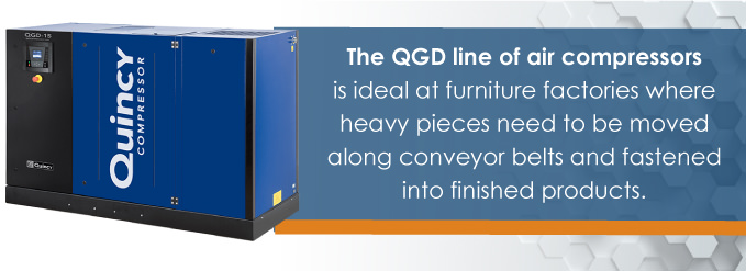 qgd compressors are ideal at furniture factories