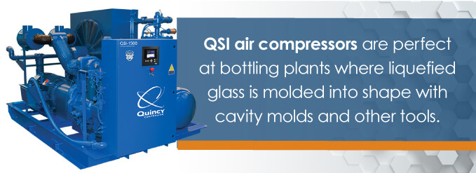 QSI air compressors are perfect for bottling plants