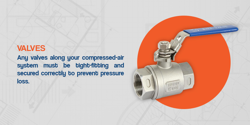 any valves along your compressed air system must be tight-fitting and secured correctly