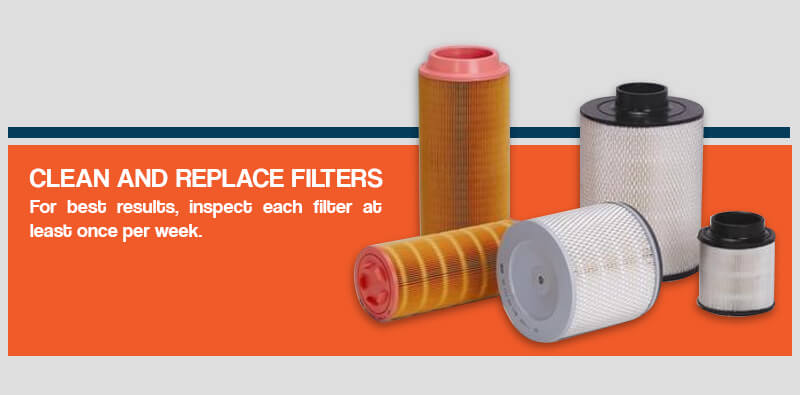 Cleaning and replacing air compressor filters