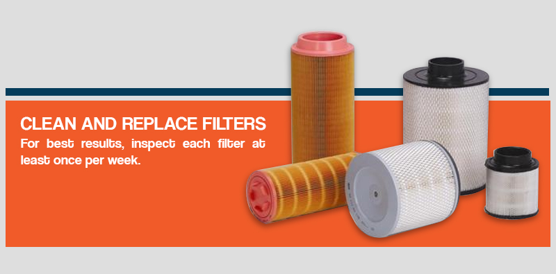 for best results, inspect each filter at least once per week