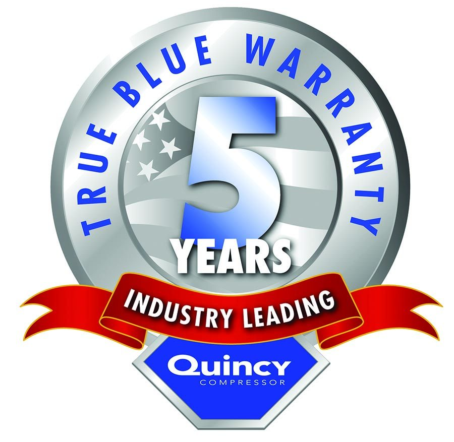 True Blue 5 year warranty from Quincy Compressor