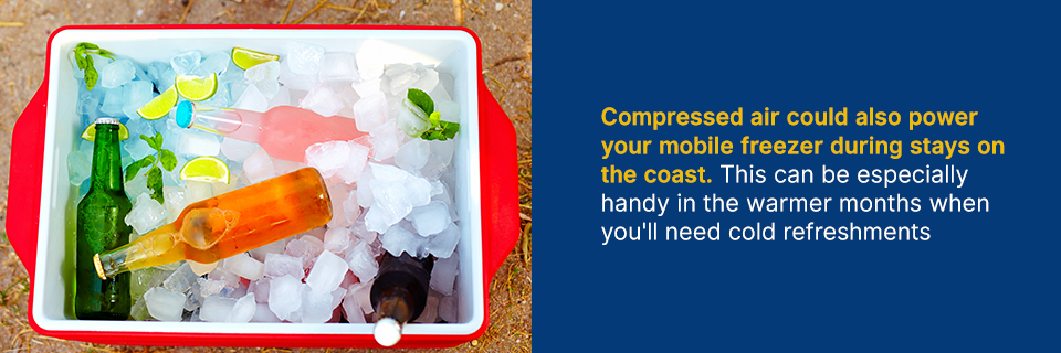 compressed air could also power your mobile freezer during stays on the coast