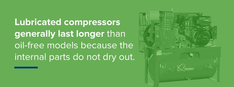 lubricated compressors generally last longer than oil-free models because the internal parts do not dry out