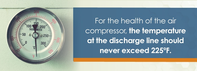 for the health of the air compressor, the temperature at the discharge line should never exceed 225 degrees F