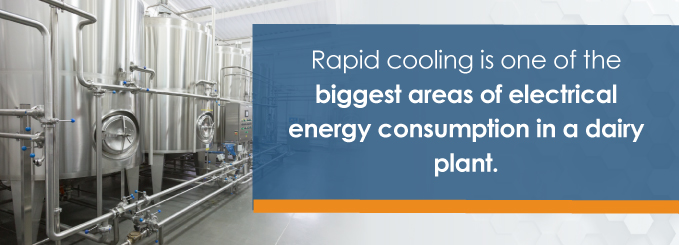 rapid cooling is one of the biggest areas of electrical energy consumption in a dairy plant