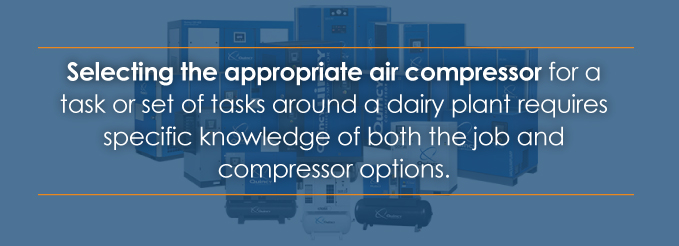 Selecting the appropriate air compressor for the myriad of tasks around a dairy operation requires specific knowledge of both the job and compressor options
