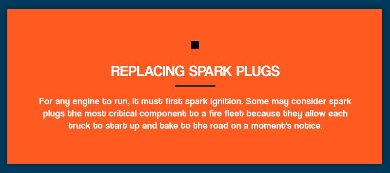 Replacing spark plugs on fire trucks